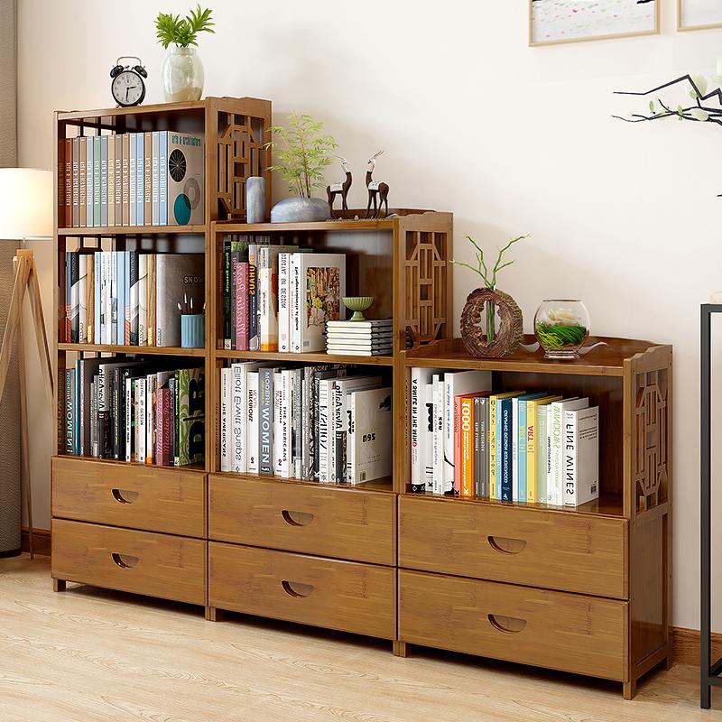 书架落地实木置物架学生桌上用书柜简约现代客厅省空间收纳储物柜