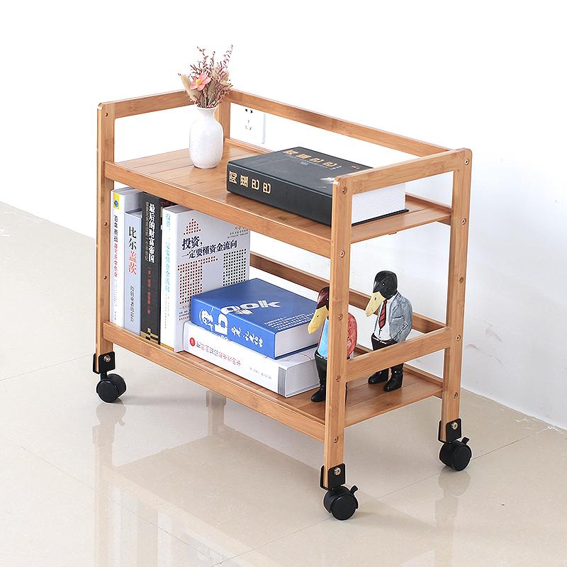 可移动置物架带滑轮办公收纳架子多层落地储物书架竹制放置架手推