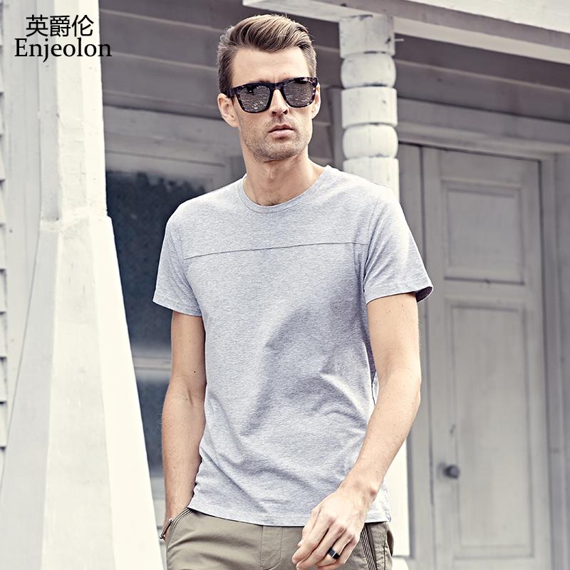 英爵伦 2019夏季新款 男士纯色短袖T恤 男装体恤上衣简约潮牌衣服