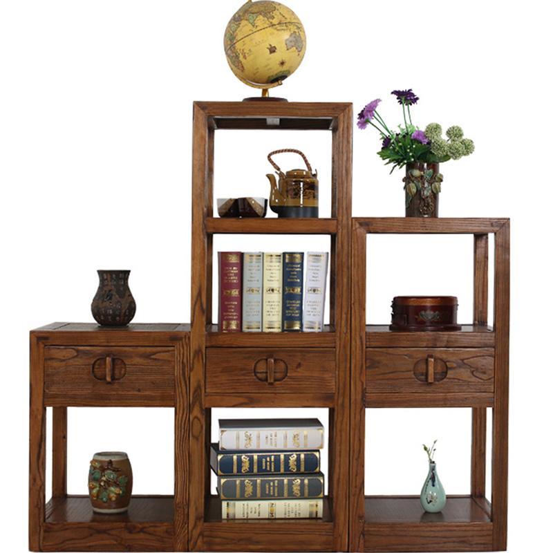 老榆木实木花架中式 仿古客厅落地多层阶梯式角柜 原木特价置物架