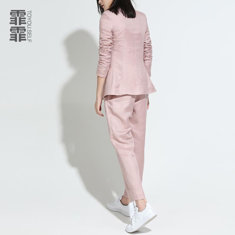 霏霏chic粉色气质小西装外套春夏韩版亚麻修身显瘦长袖西服上衣女
