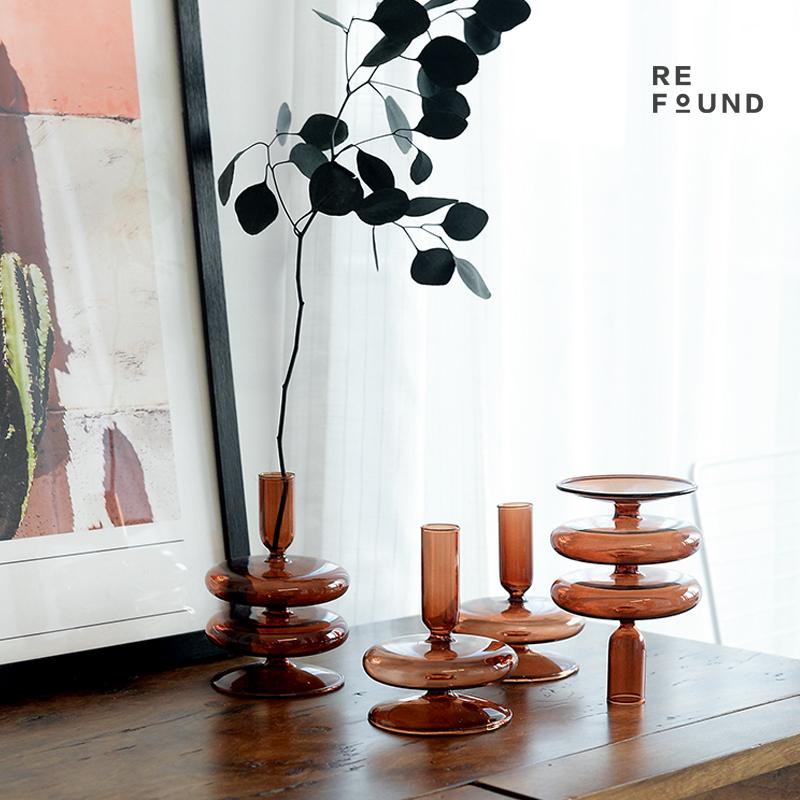ReFound复古棕色玻璃烛台Vintage民宿样板间家居装饰怀旧