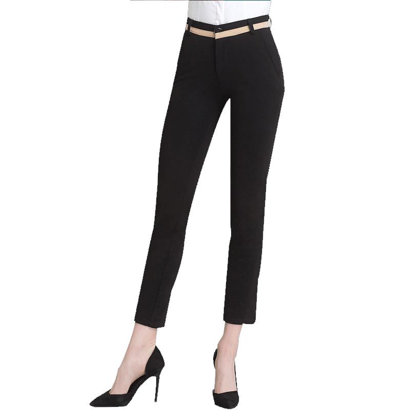 西装裤女夏季职业套装修身工作裤黑色中腰长裤新款小脚正装裤子女