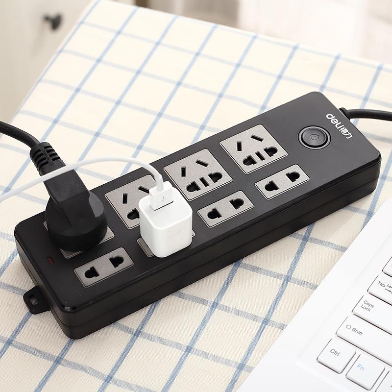得力18237插座插排插线板接线板防触电8插位2/5米多孔接线拖线板