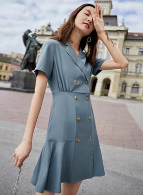 对白西装式连衣裙女2021新款夏季 法式小众修身短裙复古a字小黑裙