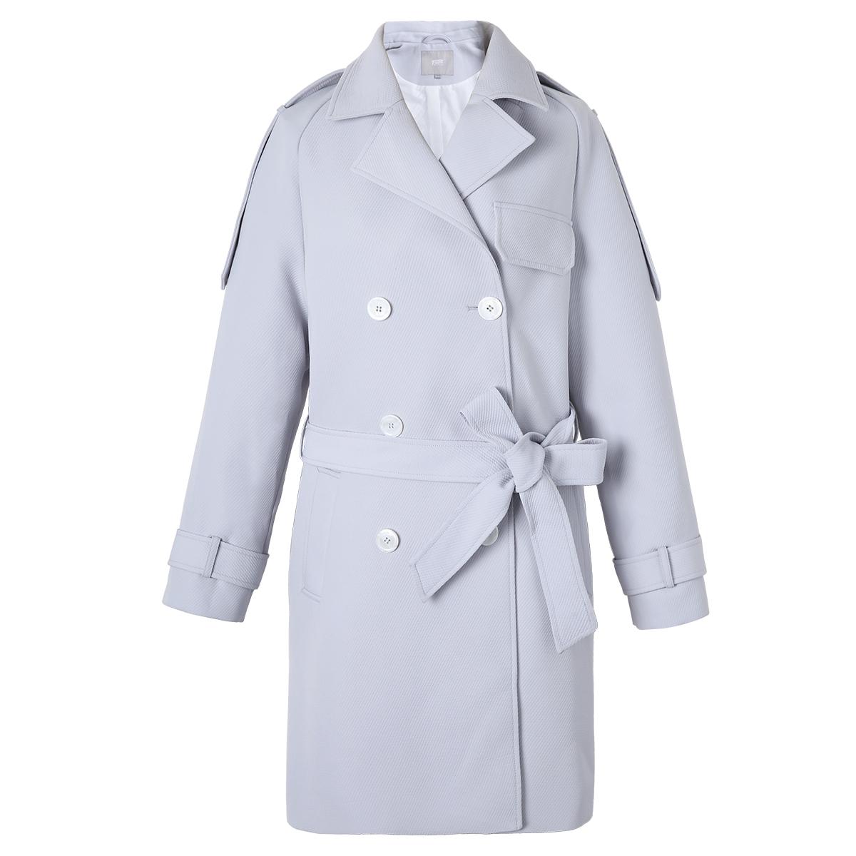 对白斜纹肌理感系带风衣女2019秋新款简约休闲西装领中长款外套D2