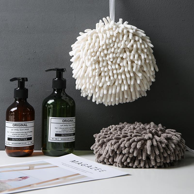 日本雪尼尔擦手球吸水巾加厚厨房速干毛巾擦手巾卫生间挂式擦手布