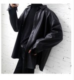 ins over the fire shirt long-sleeved shirt oversize leather shirt leather jacket and long sections for men and women couple models bf
