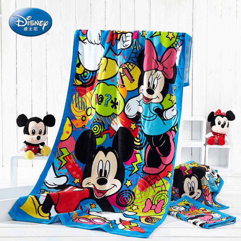 迪士尼Disney純棉嬰幼兒童卡通浴巾夏季成人沙灘巾毛巾被家用情侶