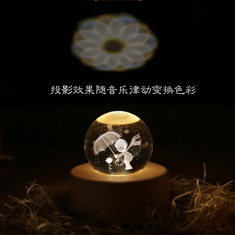 蓝牙音响木质夜灯男女生生日朋友礼物圣诞礼物 app 星空麋鹿水晶球