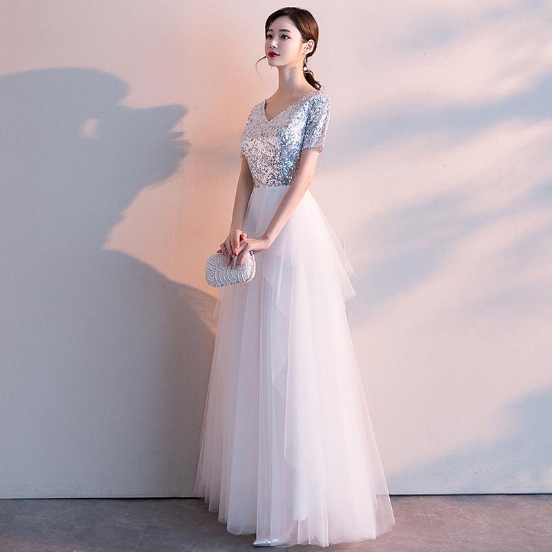 白色晚礼服裙女2019新款宴会高贵优雅气质长款名媛伴娘服气质高端
