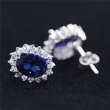 Tanzanite sapphire tanzanite stud earrings female sterling silver plated 18k gold dafei diamond temperament hypoallergenic earrings versatile