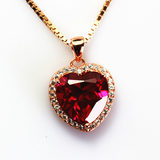 Heart-shaped ruby ​​pendant necklace female models 18K rose gold plated 925 sterling silver pendant inlaid multicolored jewelry accessories