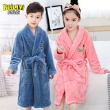 Kids boys winter flannel nightgown children's pajamas thick coral bathrobe baby boys and girls clothes at home