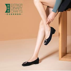 路施南低跟女鞋2020新款绒面水钻方扣百搭浅口单鞋粗跟通勤奶奶鞋