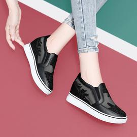 女鞋春夏季蕾丝网面透气休闲鞋坡跟内增高水钻单鞋平底镂空网纱鞋