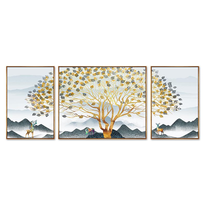 黄金发财树客厅装饰画简约现代北欧壁画沙发背景墙三联挂画墙画