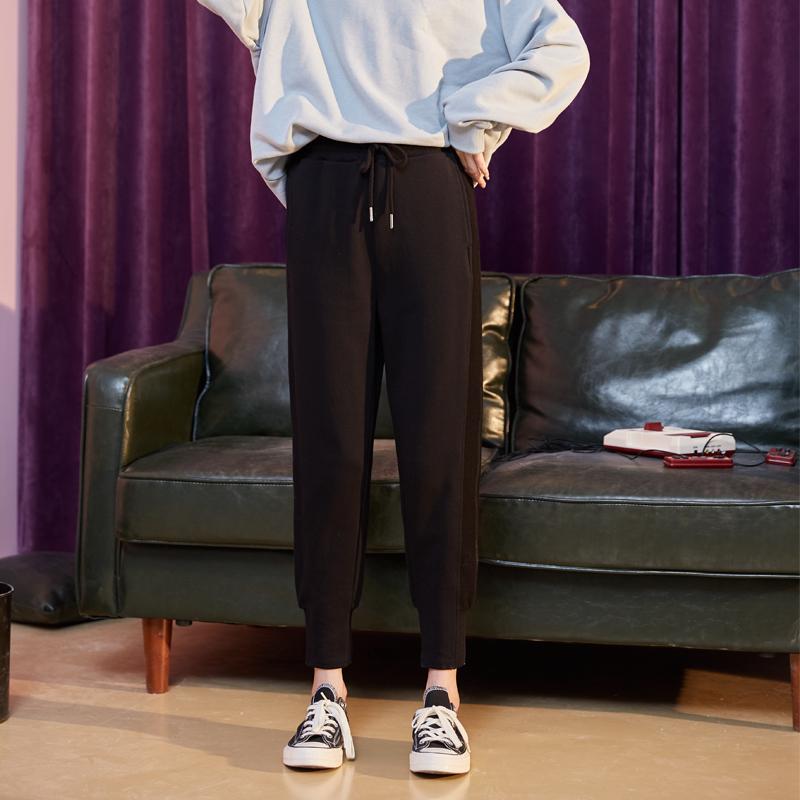 唐狮女裤春秋2019新款运动裤女宽松休闲裤女韩版黑色束脚哈伦裤女