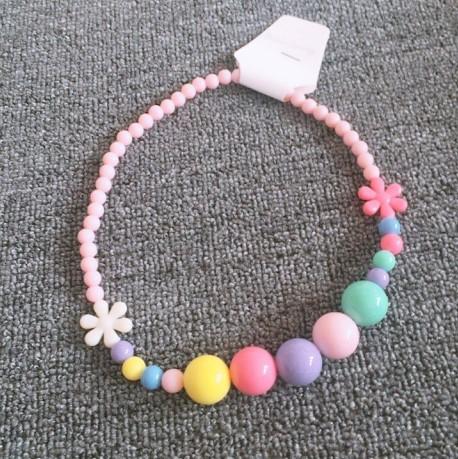 兒童配飾裝飾兒童珍珠項鍊 女童可愛金穗掛件 彩虹珠珠項鍊配飾