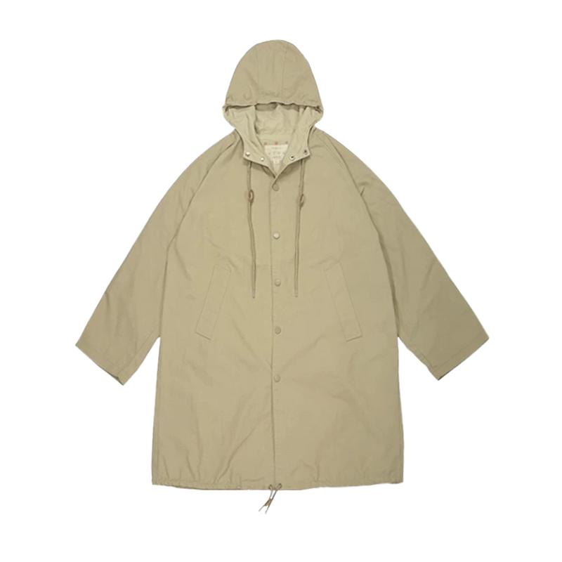 日系华夫格连帽中长款风衣男女情侣抽绳设计薄款工装外套 PROSBYCH