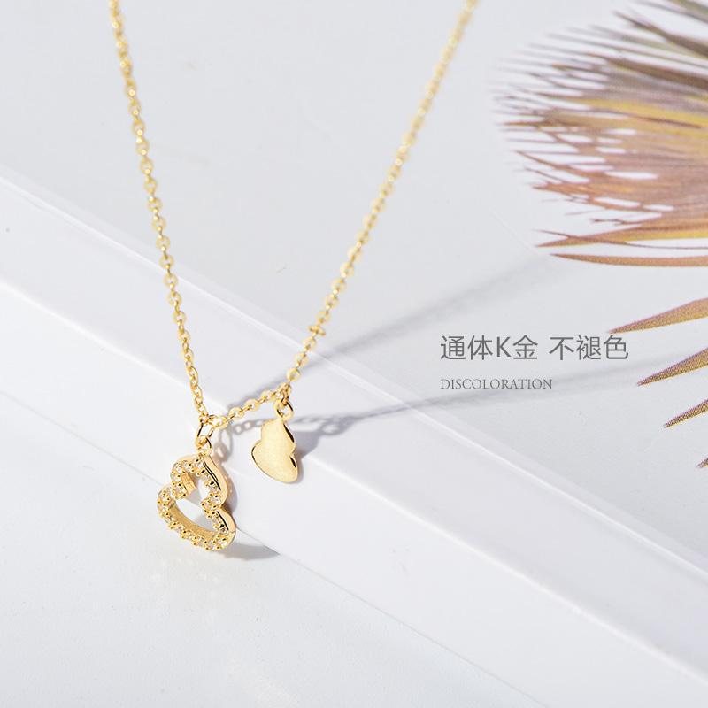 时尚闪亮锆石镶嵌镂空葫芦吊坠项链 黄金项链女 14K 韩国