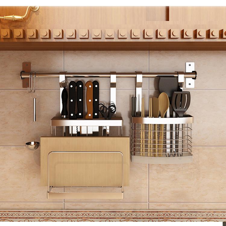 订做不锈钢多功能沥水架筷笼筷子盒筷子筒锅铲架厨房置物架壁挂子