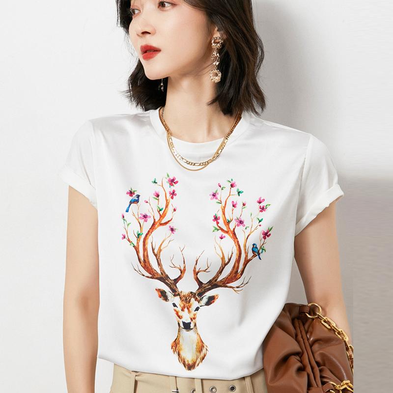 96%+真丝绸缎面料,43款可选:鄂尔多斯 女士 21年夏新款印花短袖T恤