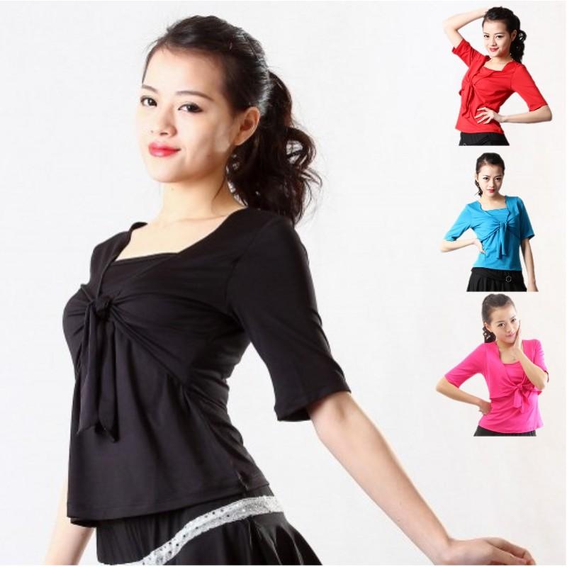 巧手新款 假兩件舞蹈服裝練功服 拉丁舞練習服 廣場舞半袖女上衣