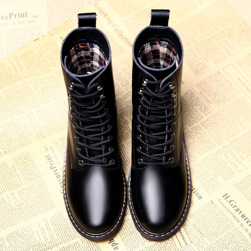馬丁靴女英倫風薄款高幫潮春黑色酷朋克單鞋粗跟復古機車百搭短靴