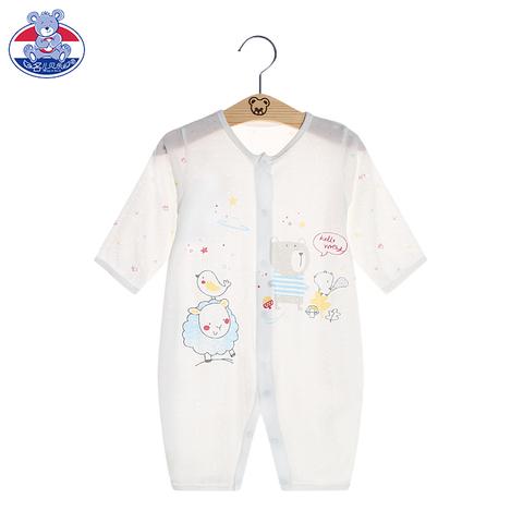 夏季薄款新生婴儿衣服竹纤维0-3个月-1岁睡衣宝宝长袖哈衣连体衣