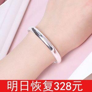 正品s999纯银手镯女简约足银手环链实心学生情侣银饰品送妈妈礼物