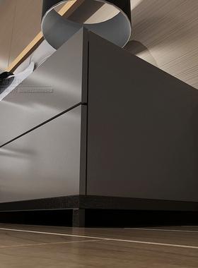 北欧个性收纳柜简约灰色钢琴烤漆床头柜现代时尚储物床边柜整装