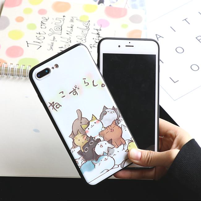 猫咪苹果iPhone6s手机壳个性卡通浮雕6/7/8plus保护套软黑边全包
