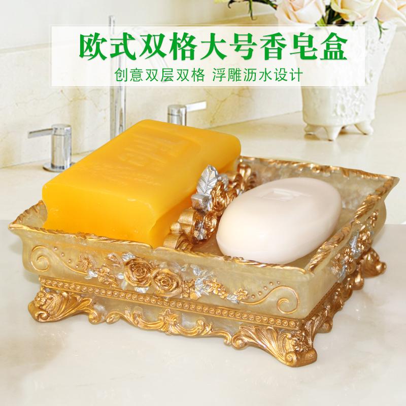 欧式创意香皂盒沥水北欧时尚卫生间树脂肥皂盒简约皂碟免打孔带盖