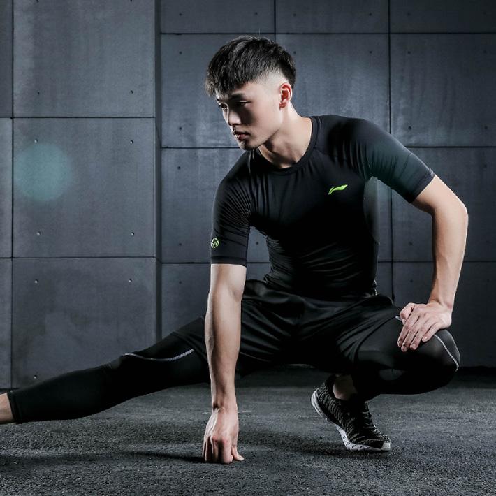 李宁运动套装男健身跑步夏季速干短袖短裤透气运动服两件套休闲装