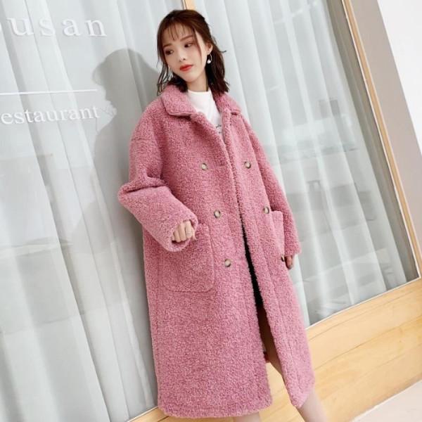 羊羔毛外套2019秋冬新款韩版宽松中长款加绒加厚羊羔绒外套大衣女
