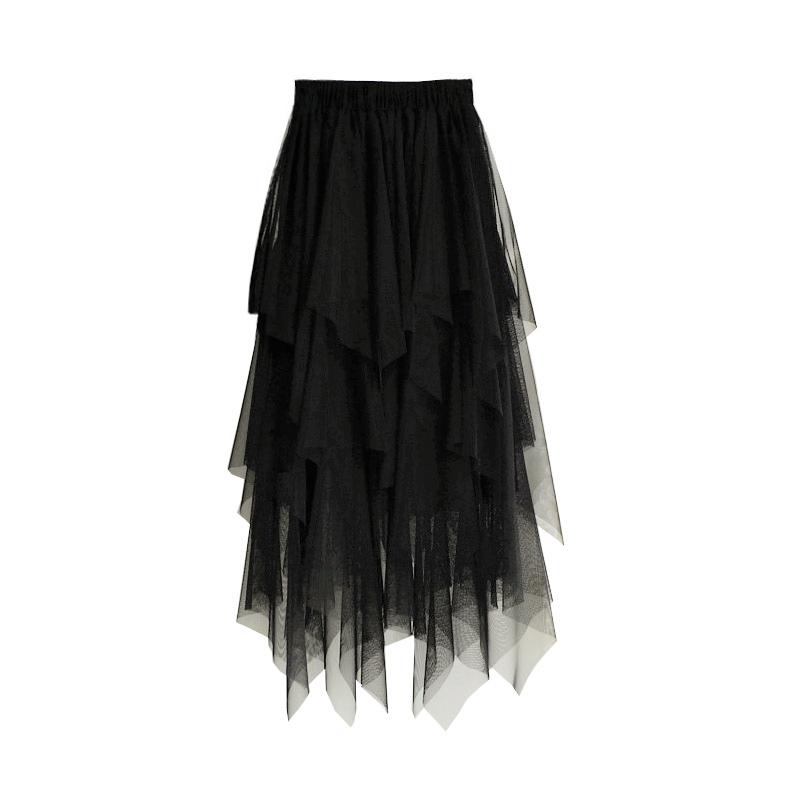 韩版半身长裙不规则纱裙蓬蓬裙多层次蕾丝网纱裙