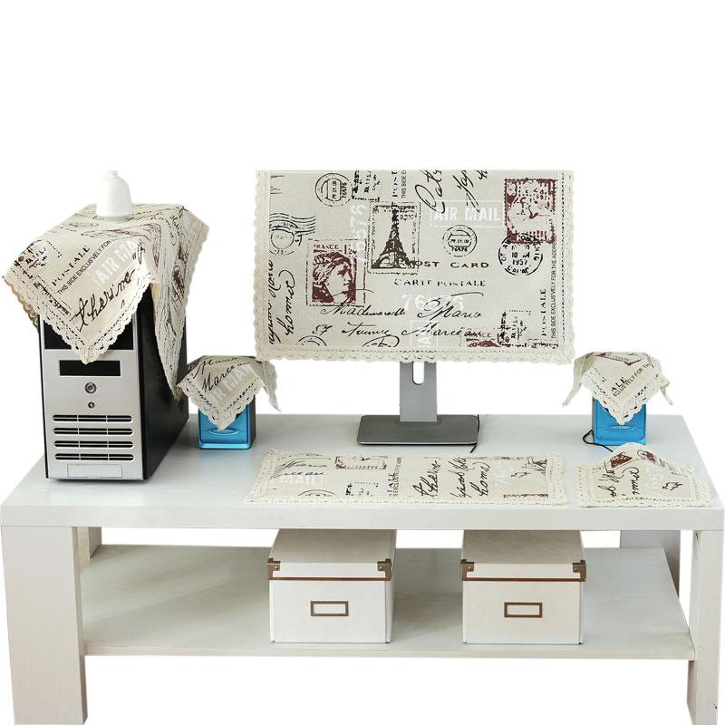 棉麻布艺液晶电脑防尘罩显示器盖巾台式一体机电脑套盖布19-32寸