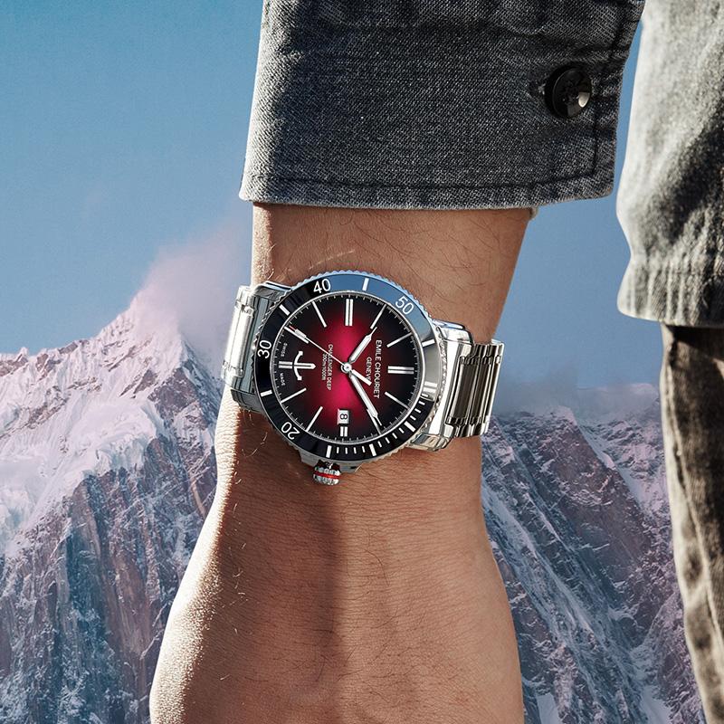 瑞士腕表艾米龙挑战者系列红黑盘潜水表钢带机械手表男表5年质保
