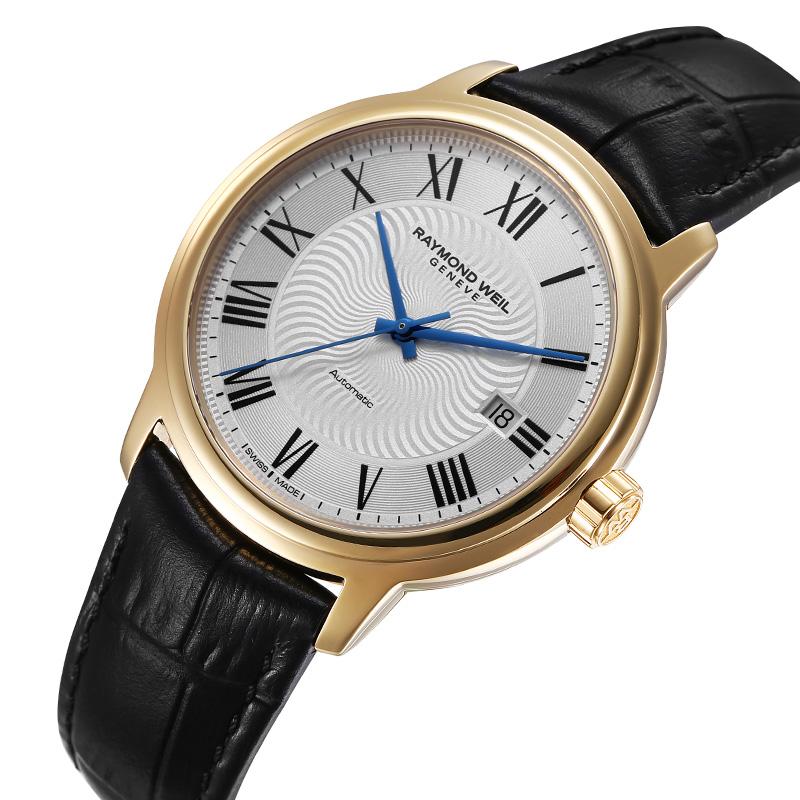 瑞士蕾蒙威Raymond Weil大师系列白盘日历皮钢带镀金机械男士腕表
