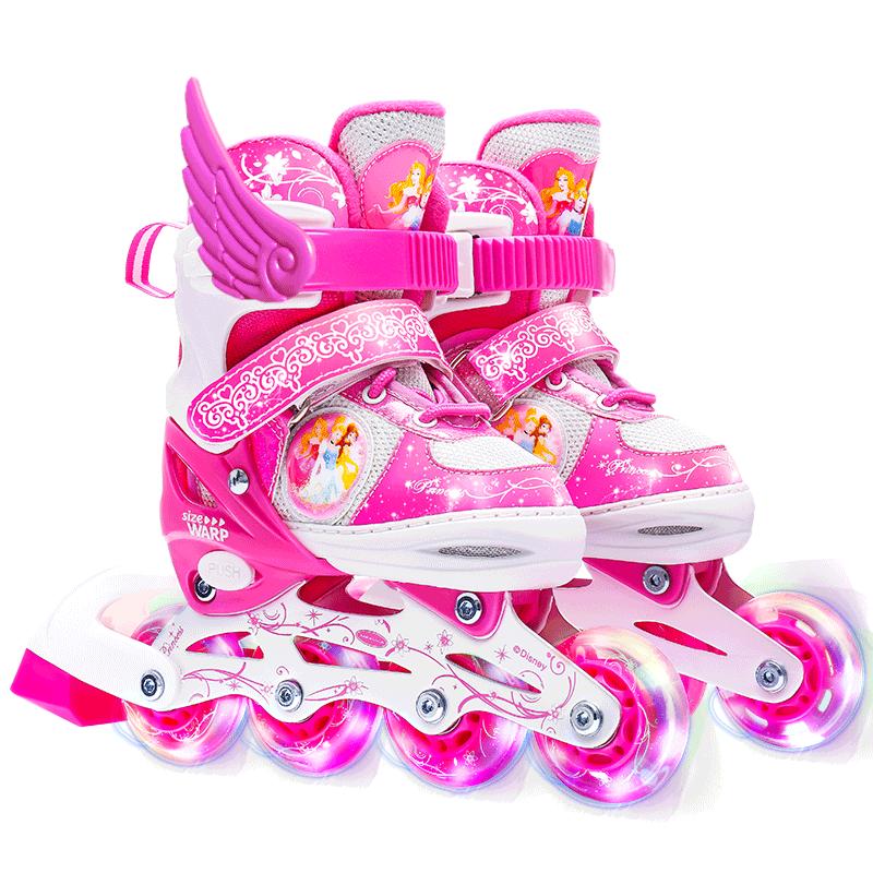 迪士尼溜冰鞋儿童初学者男女童可调节全套装小童直排轮防护溜冰鞋