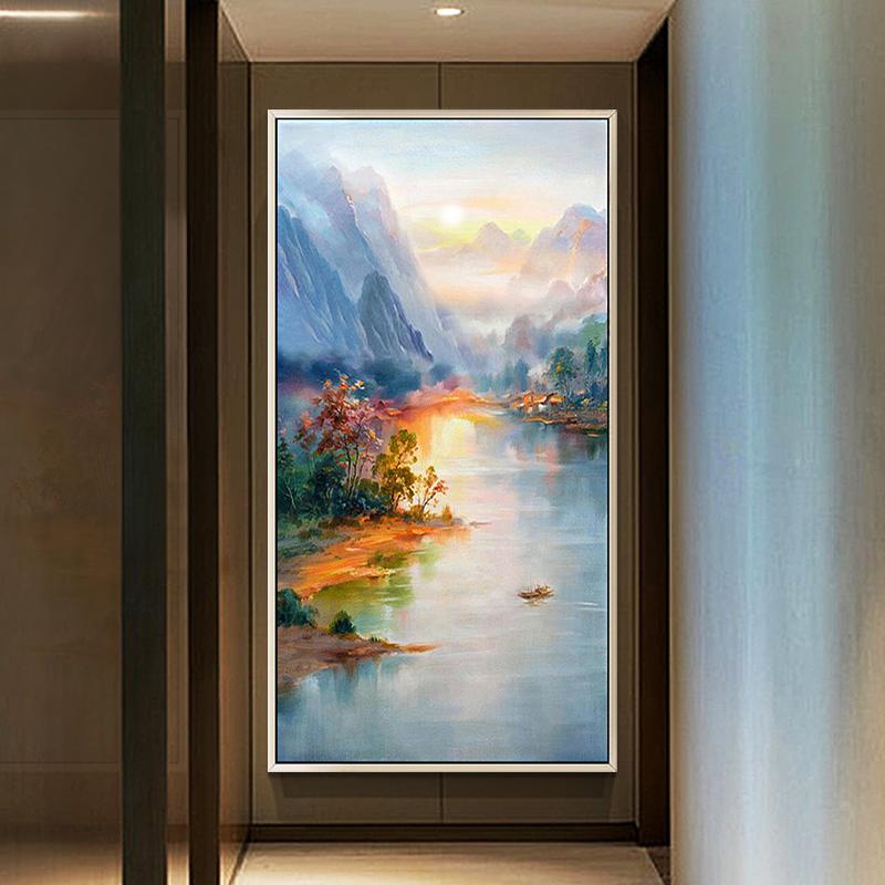 纯手绘油画风景山水抽象装饰画 简约现代新中式客厅玄关竖版挂画