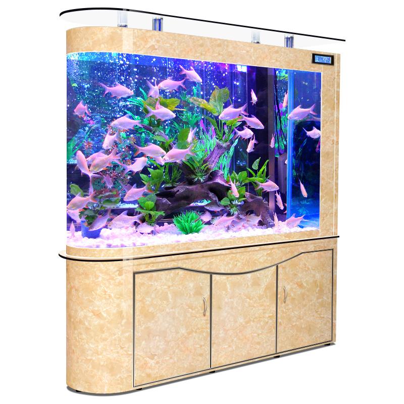 欧宝子弹头鱼缸水族箱客厅生态玻璃家用小型底过滤落地懒人免换水