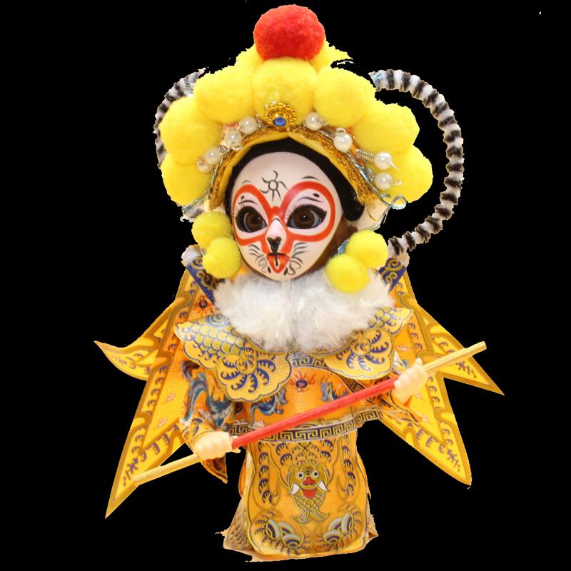 北京绢人京剧脸谱民间工艺品Q版玩偶摆件中国风出国礼品送老外