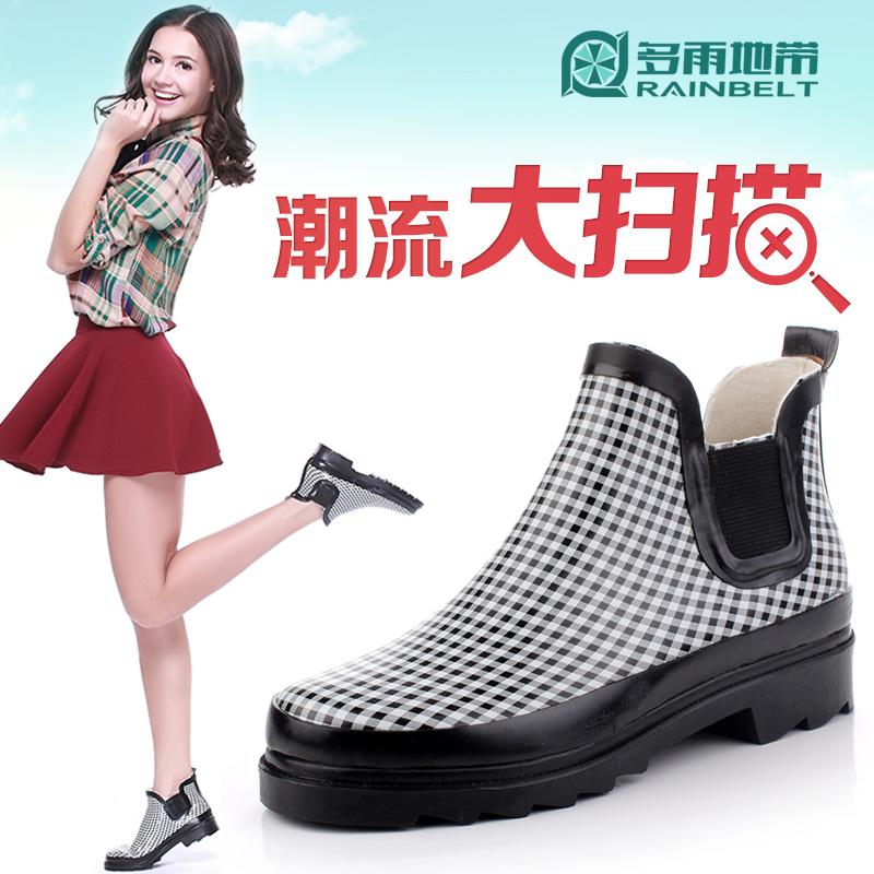 時尚經典格子女士雨鞋低筒厚底女式雨靴防水鞋防滑膠鞋秋冬保暖
