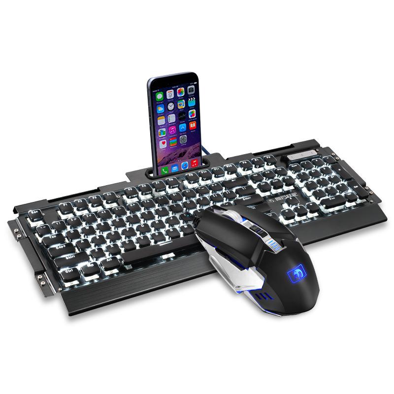 新盟真机械键盘鼠标套装青轴黑轴茶轴红轴游戏吃鸡电竞三件套台式电脑笔记本有线键鼠套装外设网吧咖家用办公
