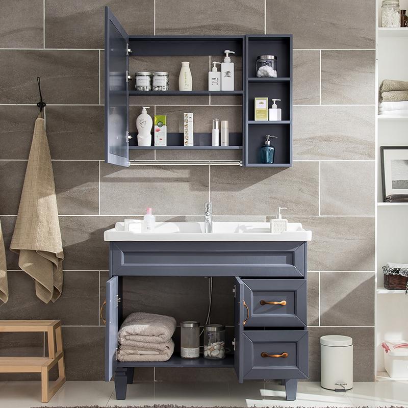 橡木浴室柜组合现代简约美式台盆卫生间洗脸洗手盆北欧实木洗漱台
