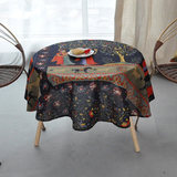 Vintage literary nostalgia cotton and linen cloth wind Southeast Asian nation oval tables small round table cloth tablecloths home dining