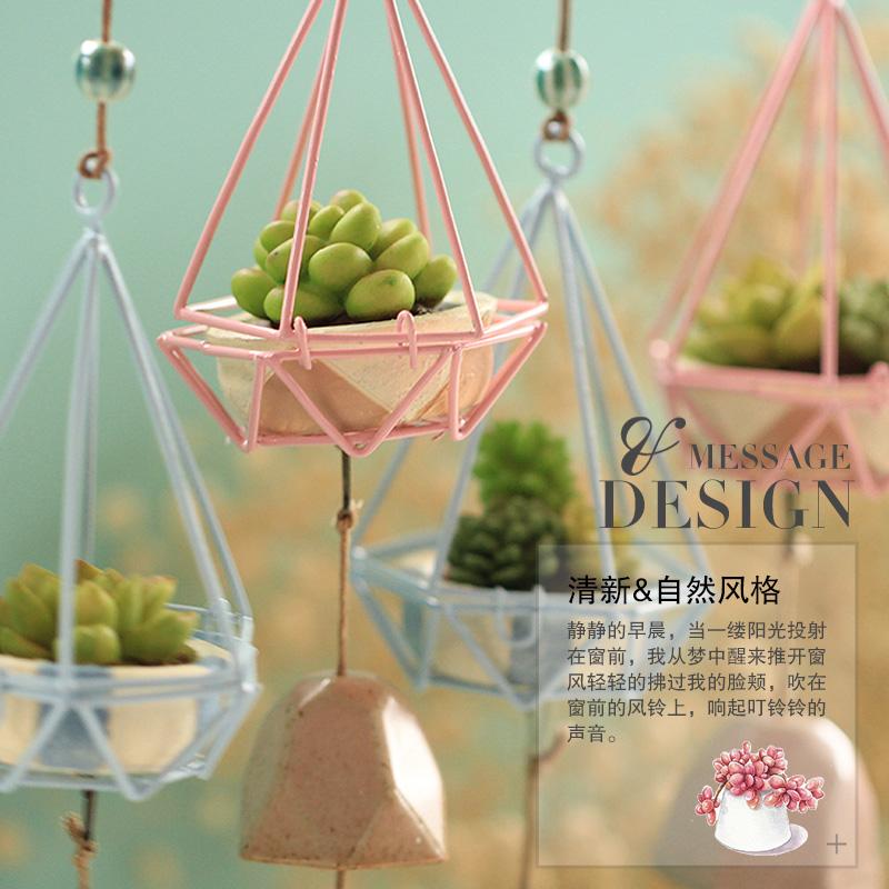 创意日式生日小礼物女生卧室仿真多肉陶瓷风铃挂饰挂件小清新门店