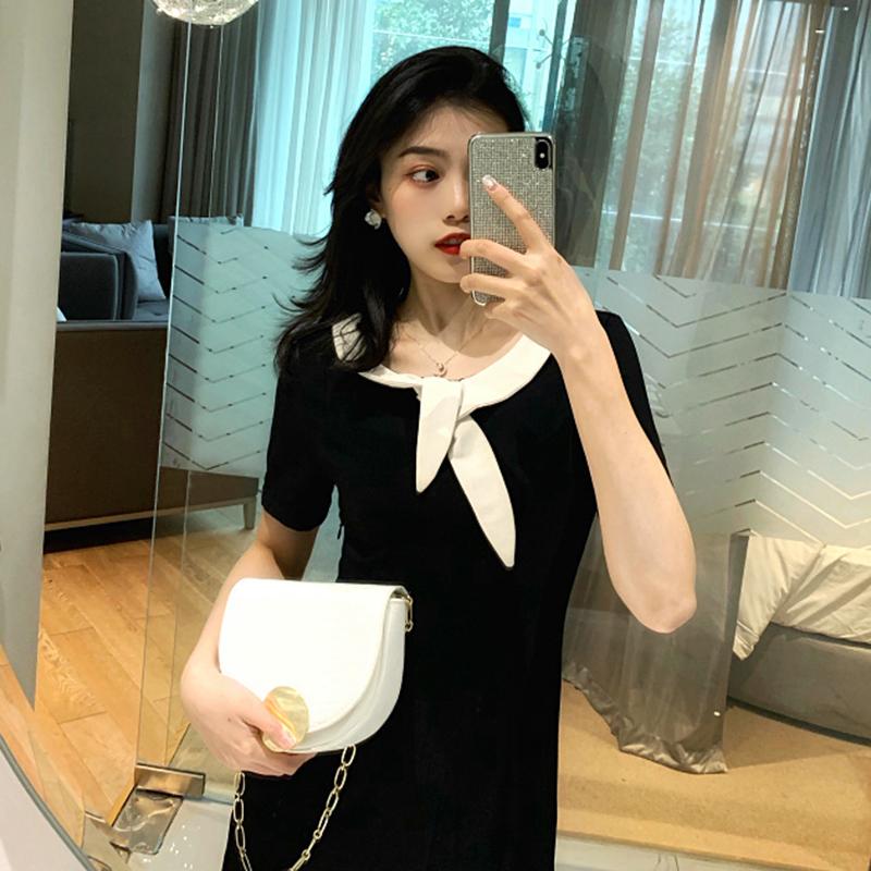 赫本复古韩版前后两穿V领小众连衣裙子休闲气质高腰中长裙女装潮